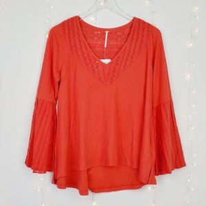 Free People Parisian Nights Embroidered Boho Top